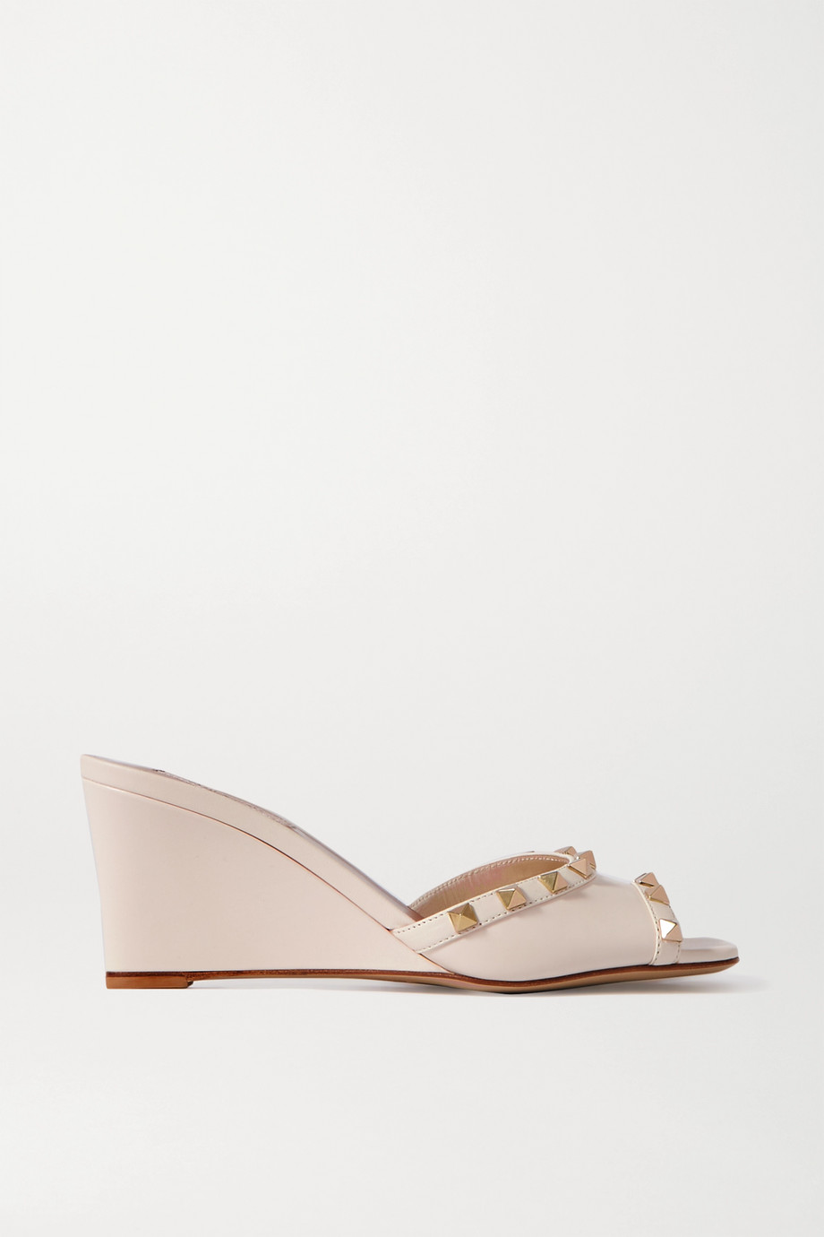 Valentino Valentino Garavani Rockstud 70 leather wedge mules