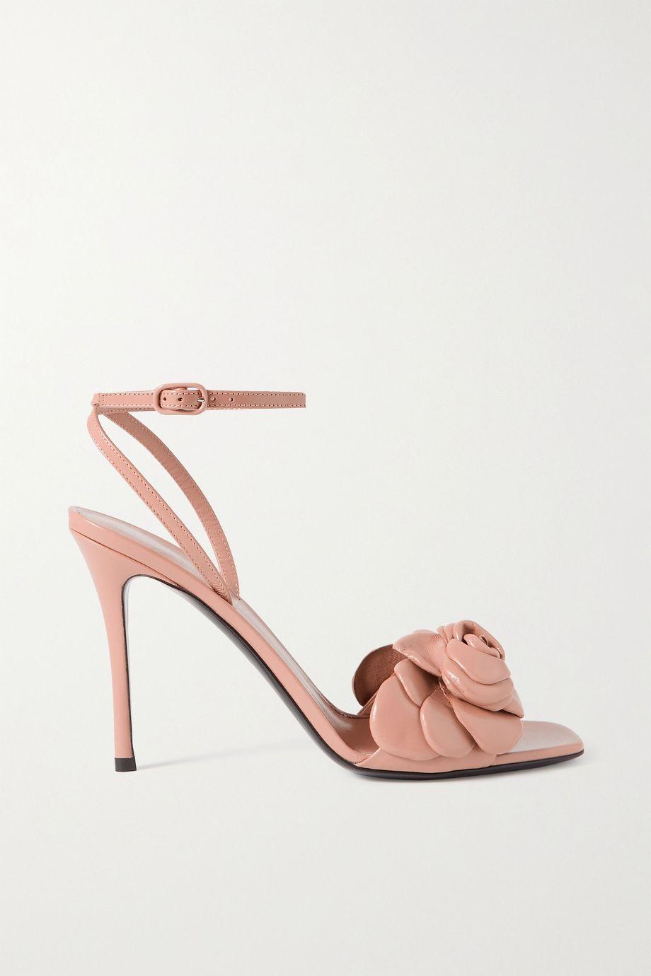 Valentino Valentino Garavani Rosa 100 appliquéd leather sandals