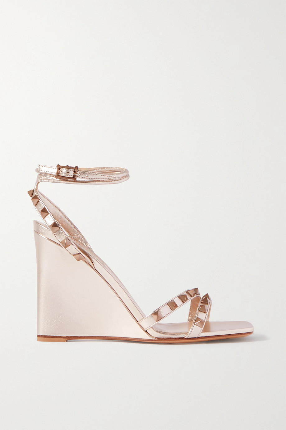 Valentino Valentino Garavani Rockstud 100 metallic leather wedge sandals