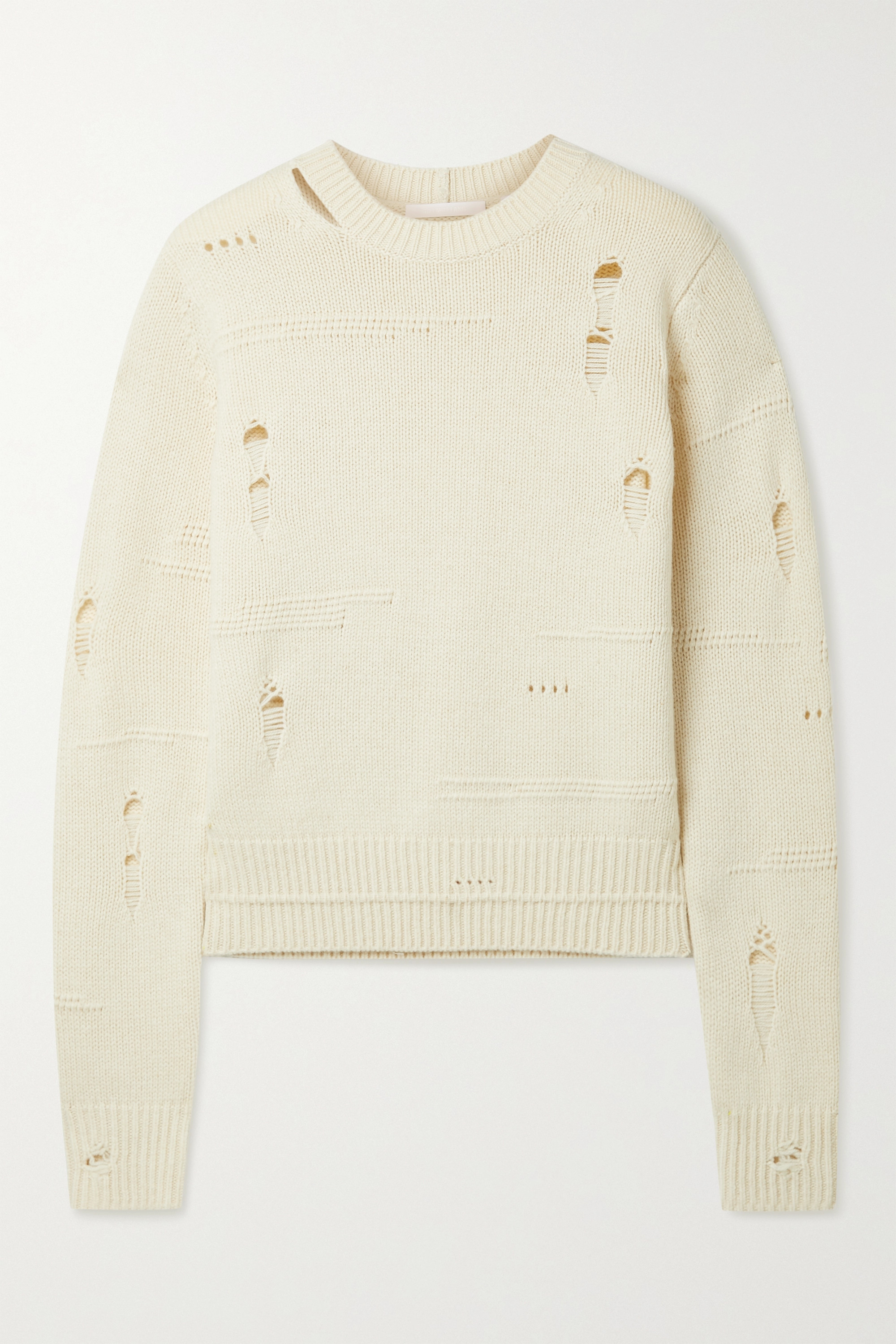 Helmut Lang Distressed wool, yak and cashmere-blend sweater