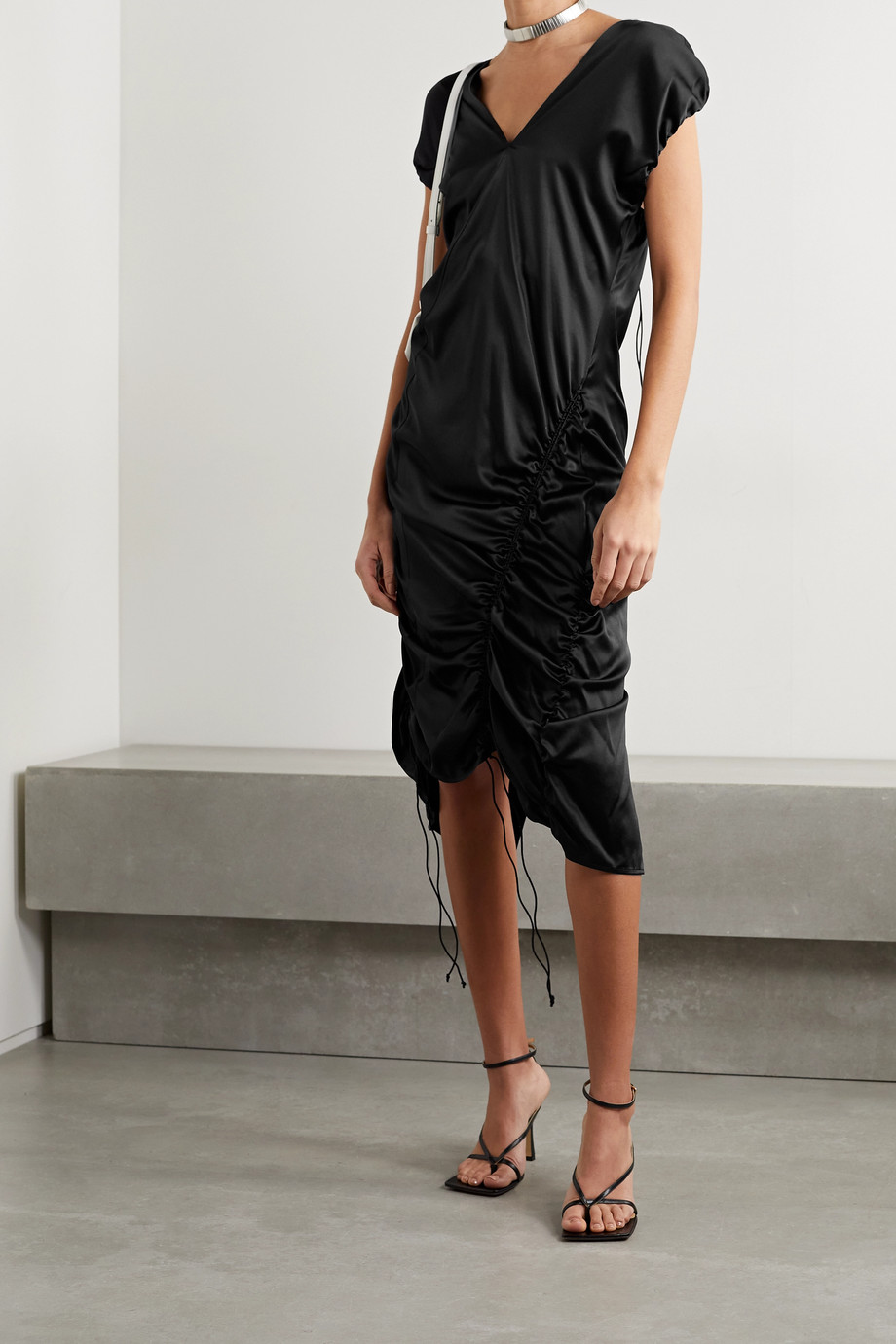 Helmut Lang Ruched silk-blend satin midi dress