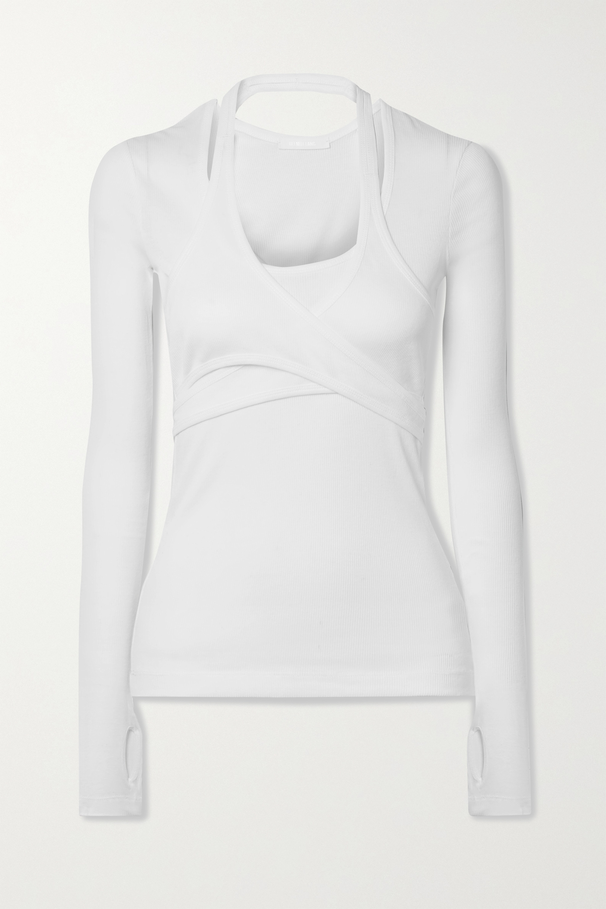 Helmut Lang Layered wrap-effect ribbed cotton-jersey top