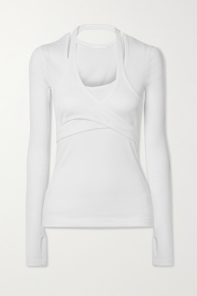 Helmut Lang - Layered Wrap-effect Ribbed Cotton-jersey Top - White