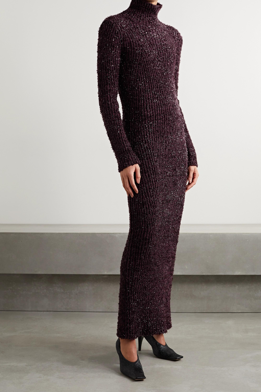 Helmut Lang Open-back metallic ribbed cotton-blend turtleneck maxi dress