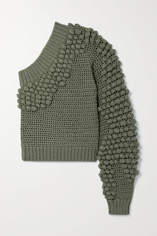 Helmut Lang Pompom-embellished one-sleeve knitted sweater