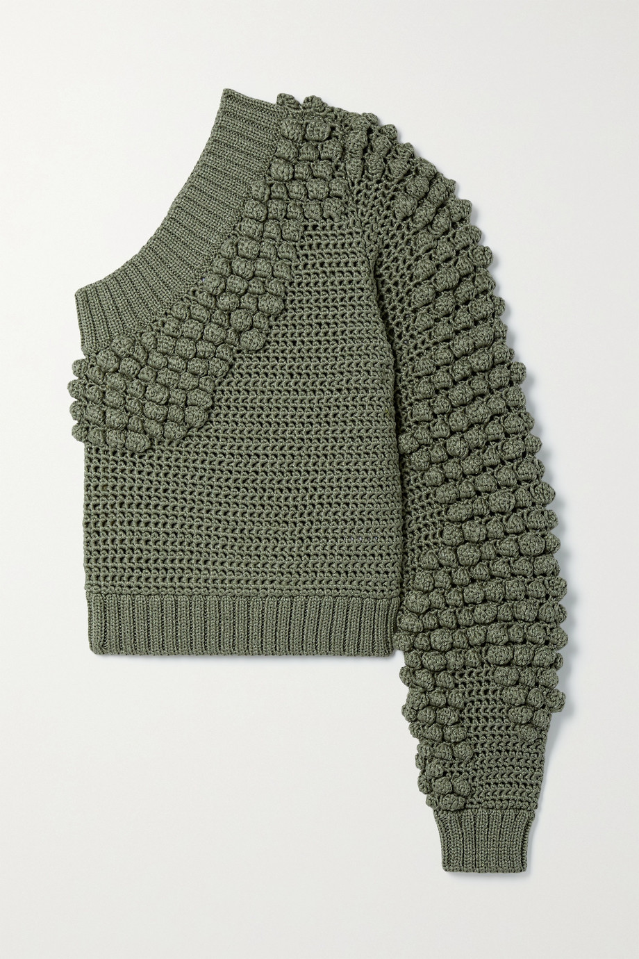 Helmut Lang Pompom-embellished one-sleeve knitted sweater