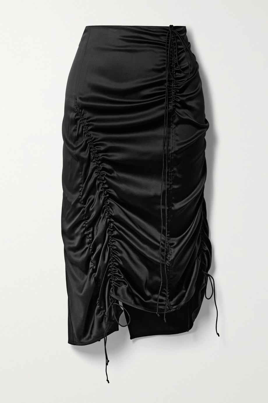 Helmut Lang Ruched silk-blend satin midi skirt