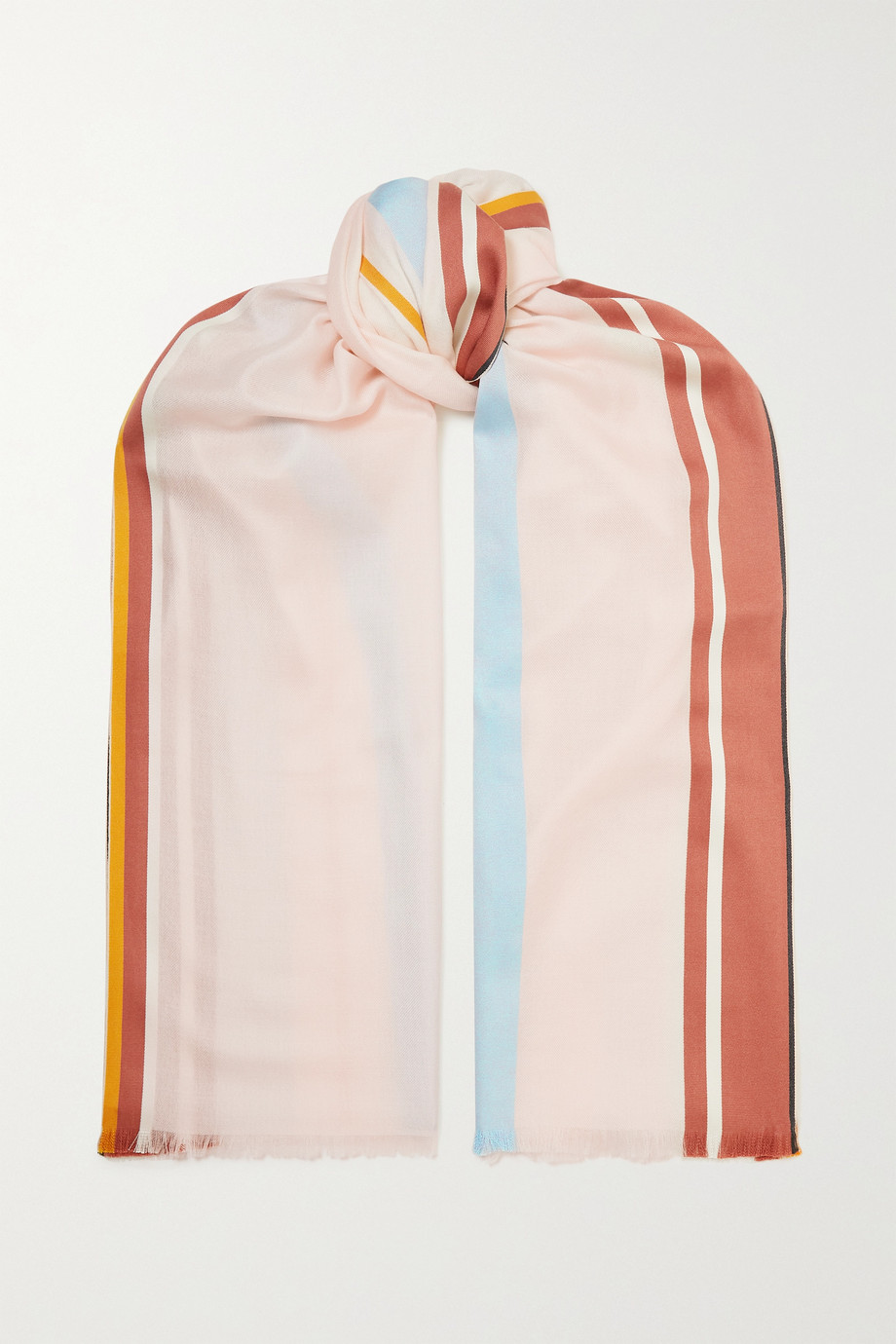 Loro Piana Julliard fringed striped silk and cashmere-blend jacquard scarf