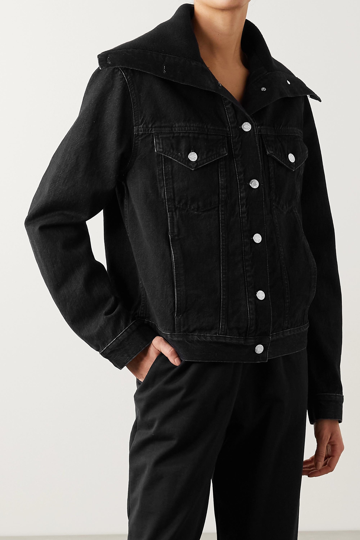 Helmut Lang Ribbed knit-trimmed denim jacket