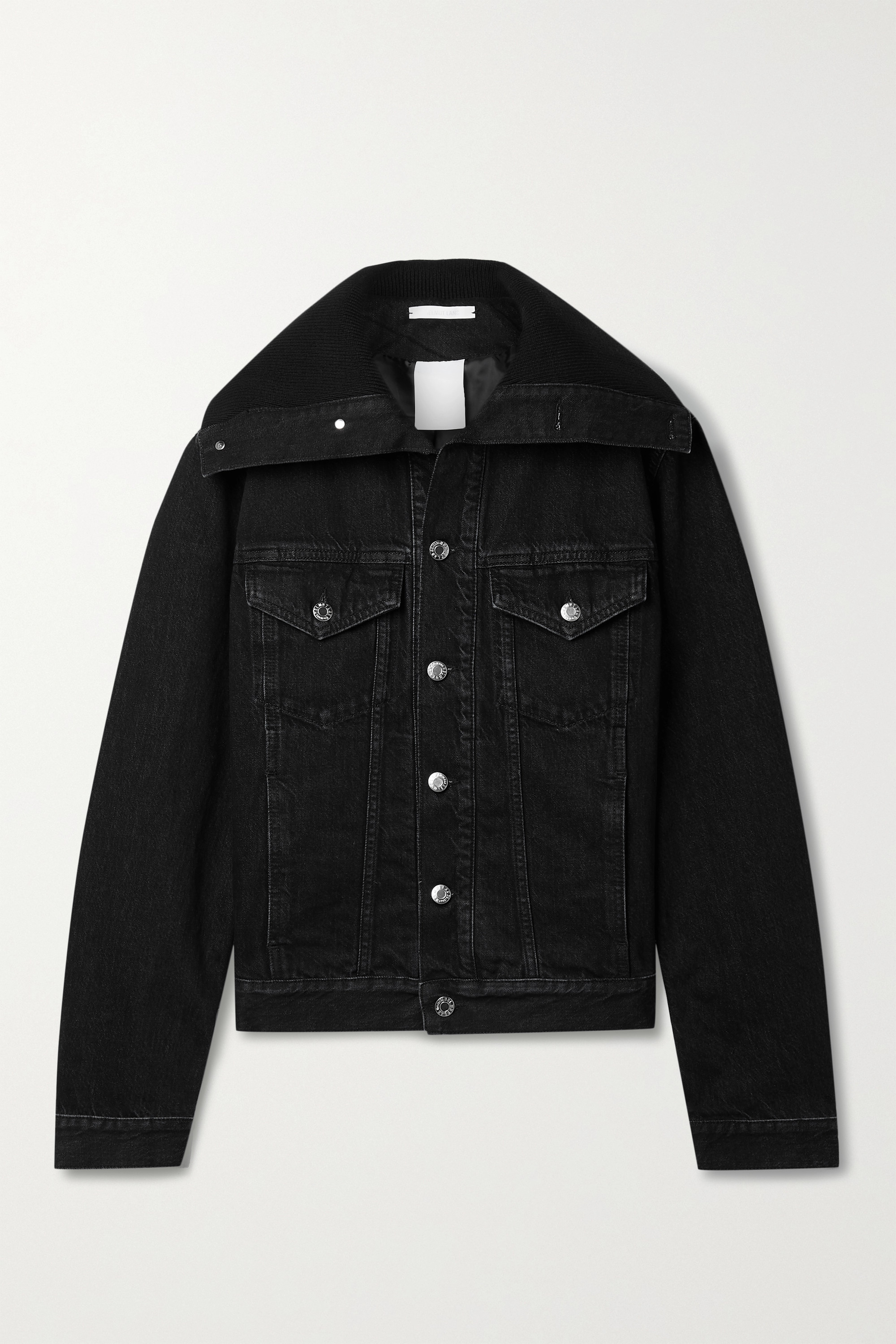 Helmut Lang RIBBED KNIT-TRIMMED DENIM JACKET
