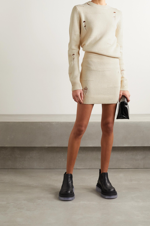 Helmut Lang Distressed wool-blend mini skirt