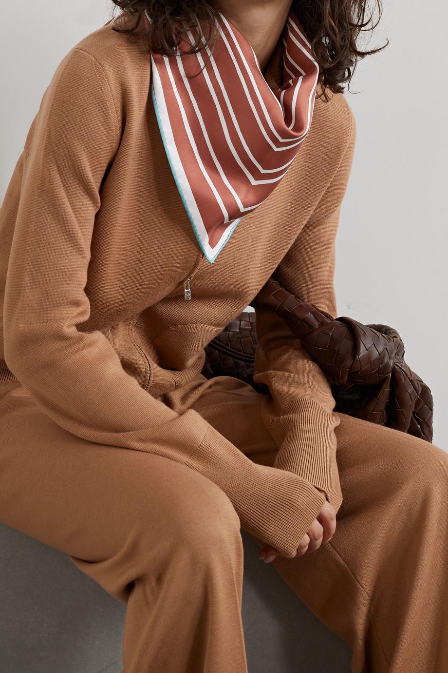 Loro Piana Foulard en serge de soie satinée à rayures