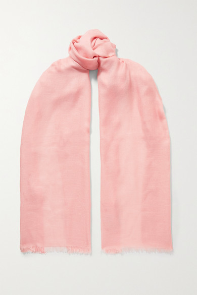 Loro Piana Frayed Cashmere And Silk-blend Scarf In Baby Pink