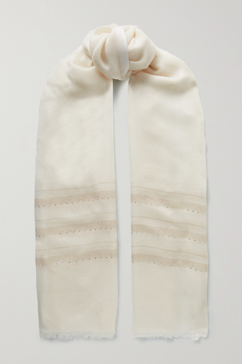 Loro Piana Frayed crystal-embellished metallic cashmere-blend scarf