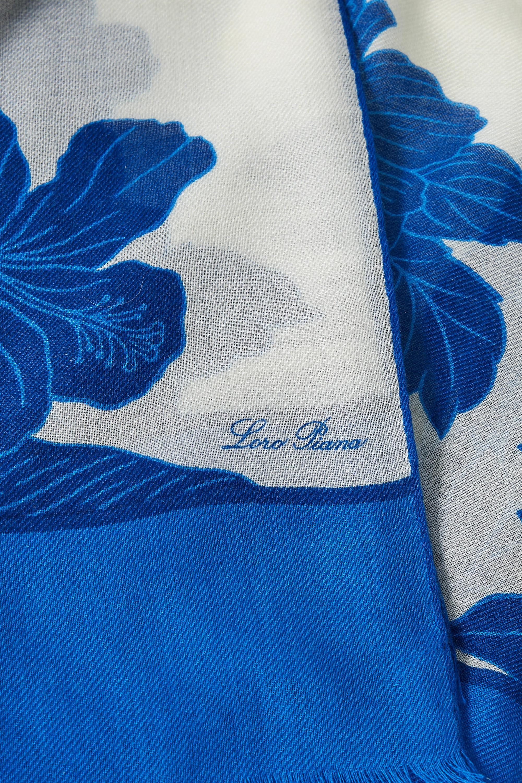 Loro Piana Tuch aus einer Kaschmir-Seidenmischung mit Blumenprint und Fransen