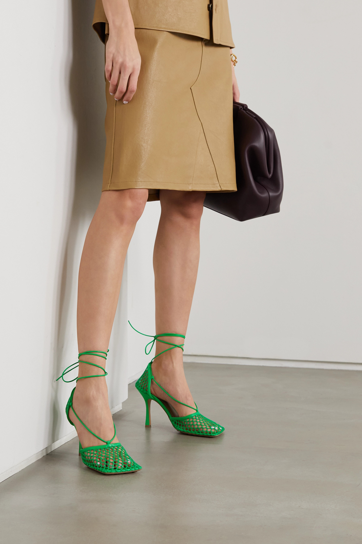 Bottega Veneta Lace-up leather-trimmed mesh pumps