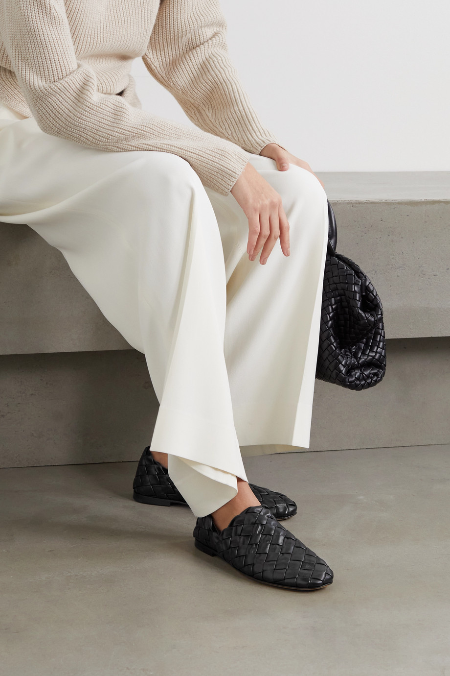 Bottega Veneta Intrecciato leather collapsible-heel loafers