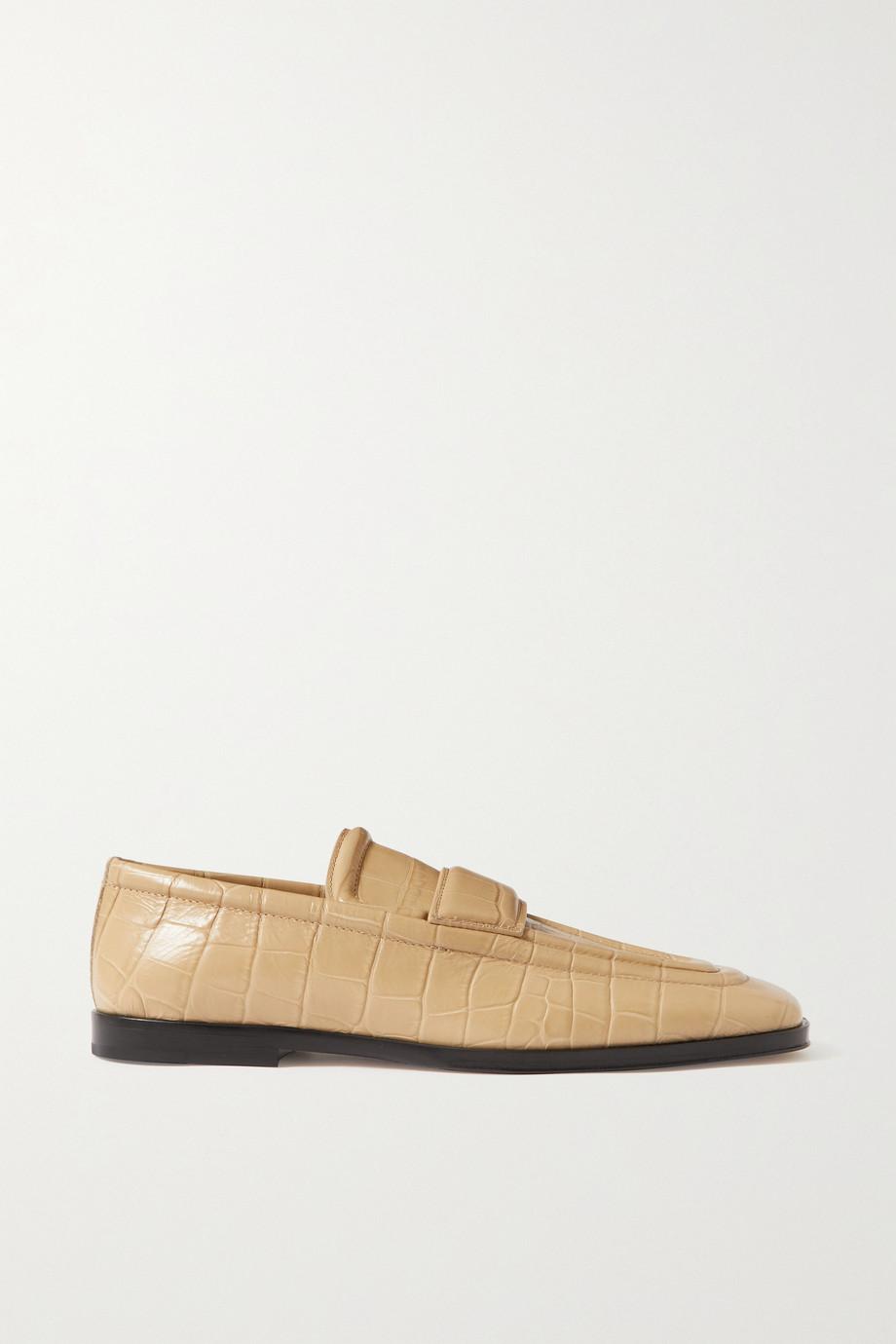 Bottega Veneta Loafers aus Leder mit Krokodileffekt