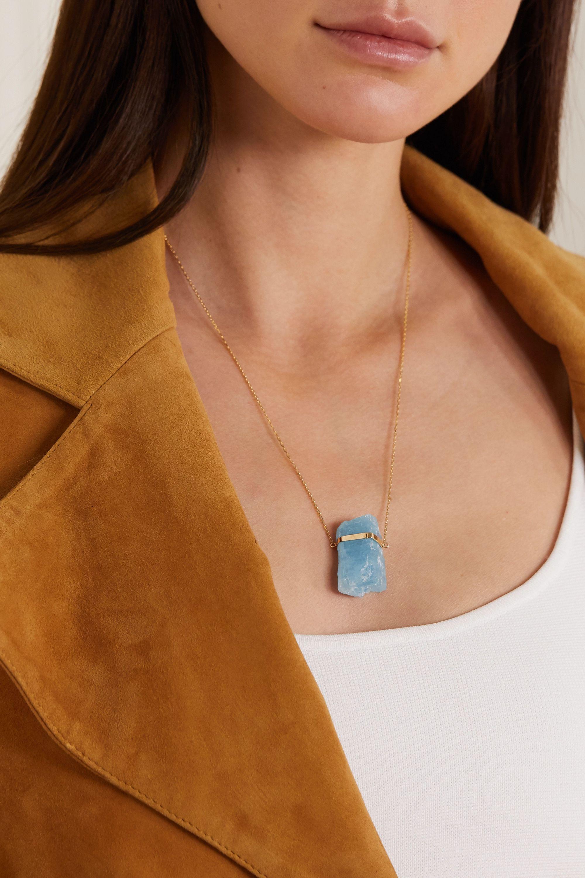 JIA JIA 14-karat gold aquamarine necklace