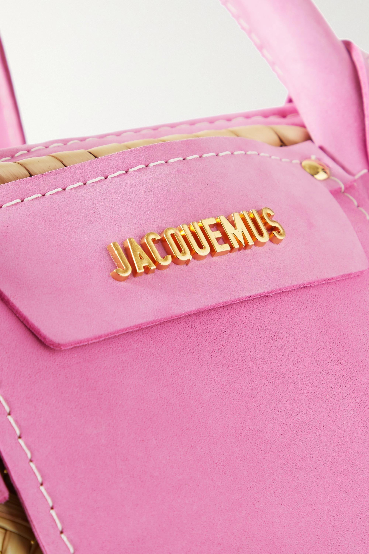 Jacquemus Soleil Tote aus Stroh mit Velourslederbesatz