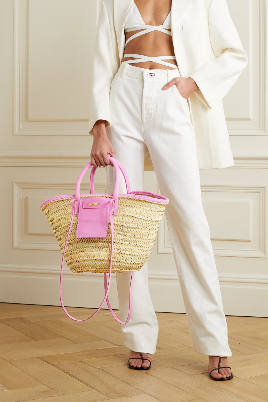 Jacquemus Soleil suede-trimmed straw tote
