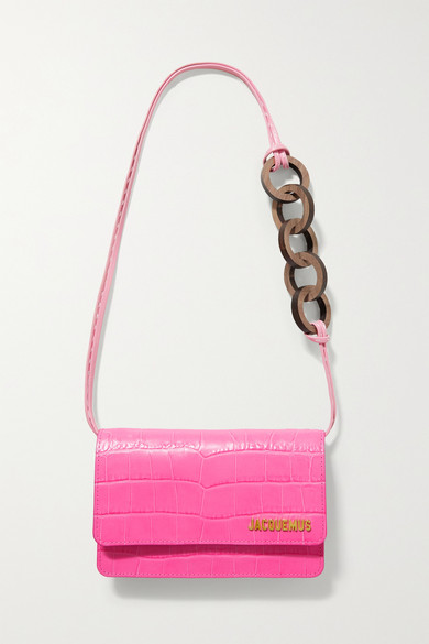 Jacquemus - Le Riviera Croc-effect Leather Shoulder Bag - Bright pink