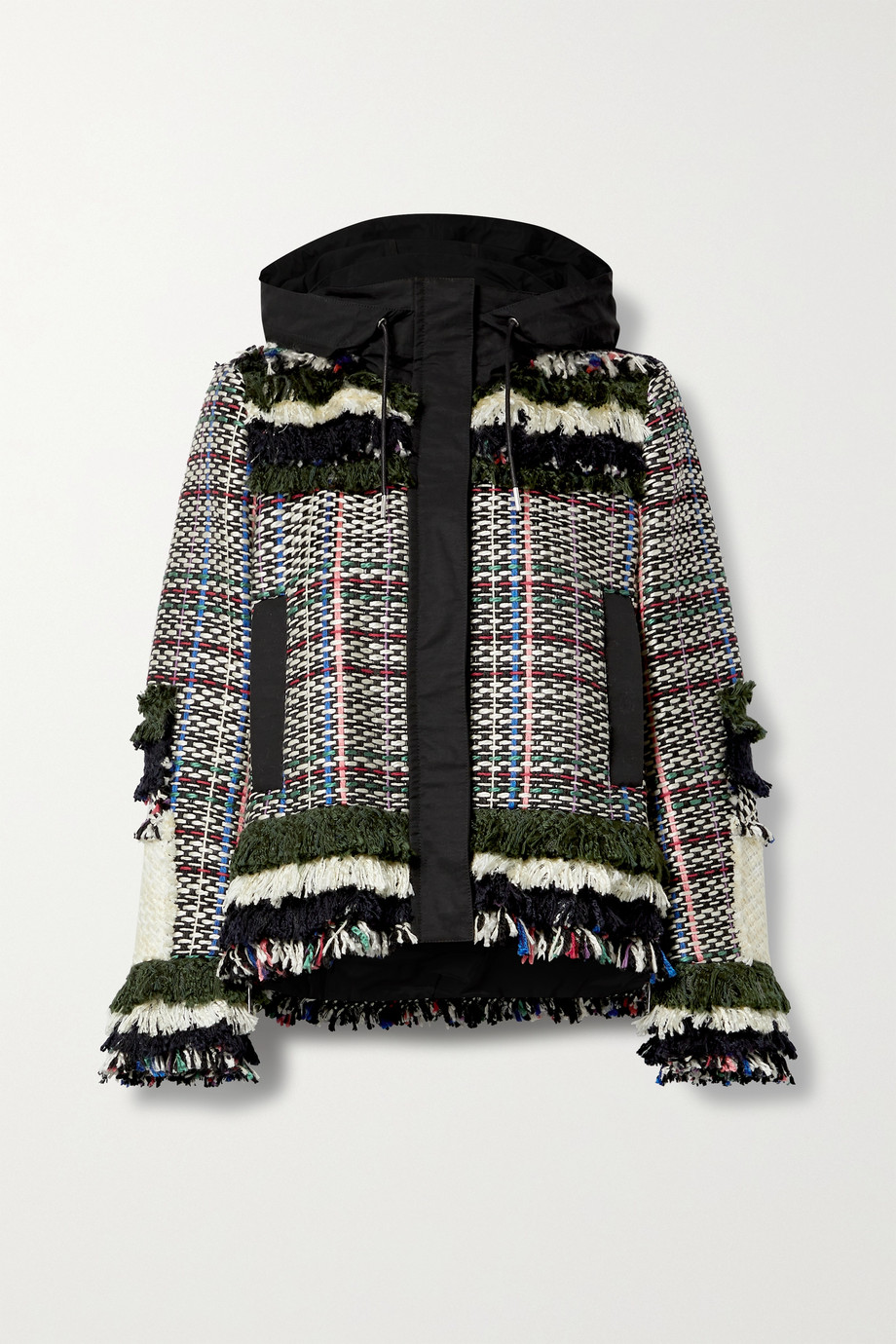 Sacai Fringed canvas-trimmed tweed jacket