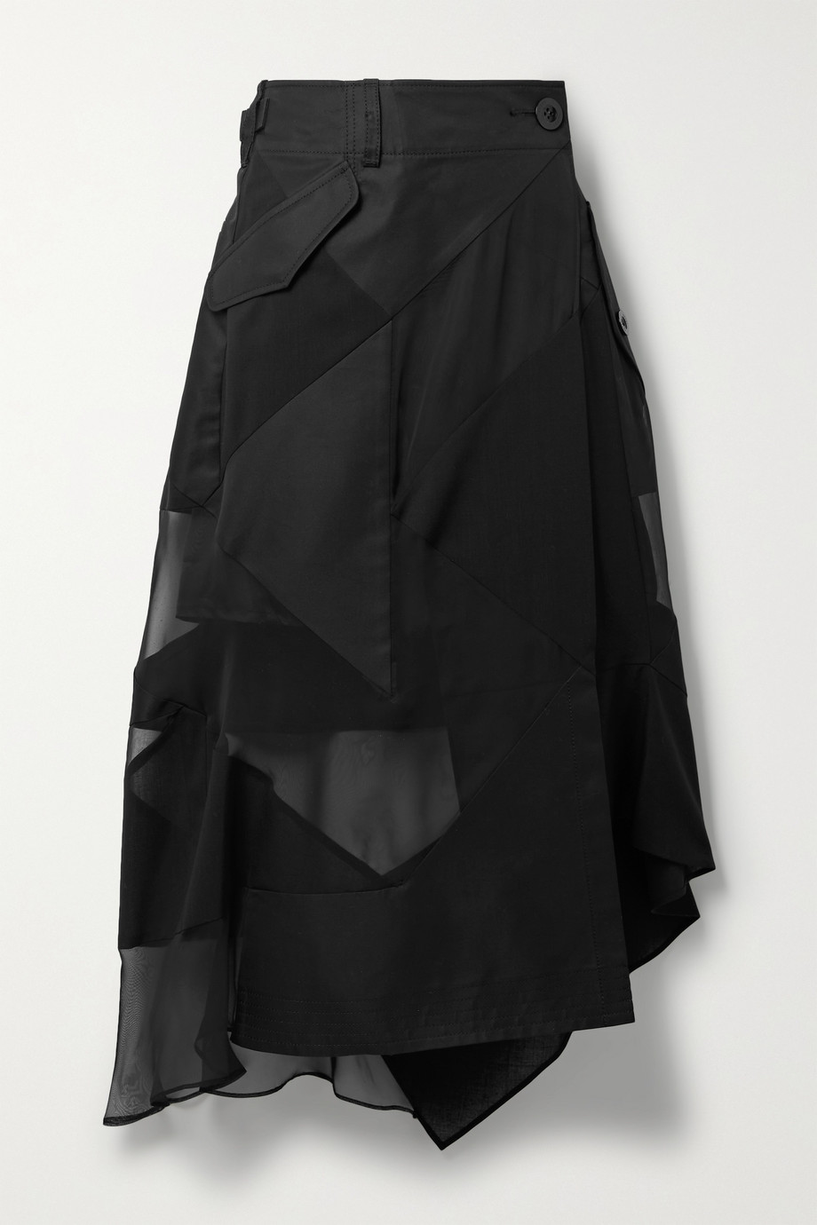 Sacai + Hank Willis Thomas asymmetric paneled twill, chiffon and poplin wrap skirt