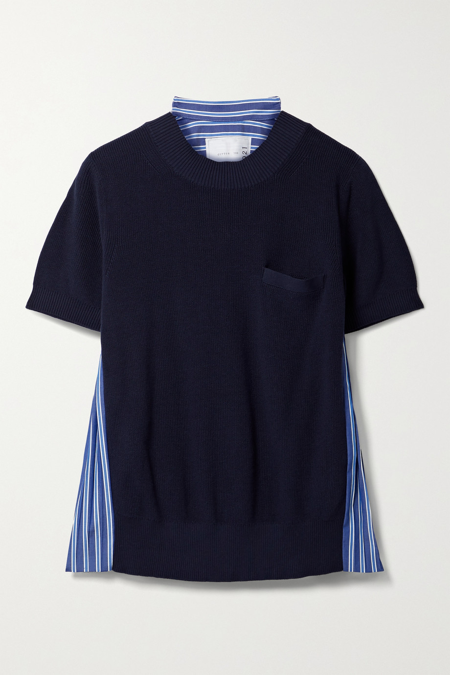 Sacai Paneled knitted and pleated striped cotton-poplin T-shirt