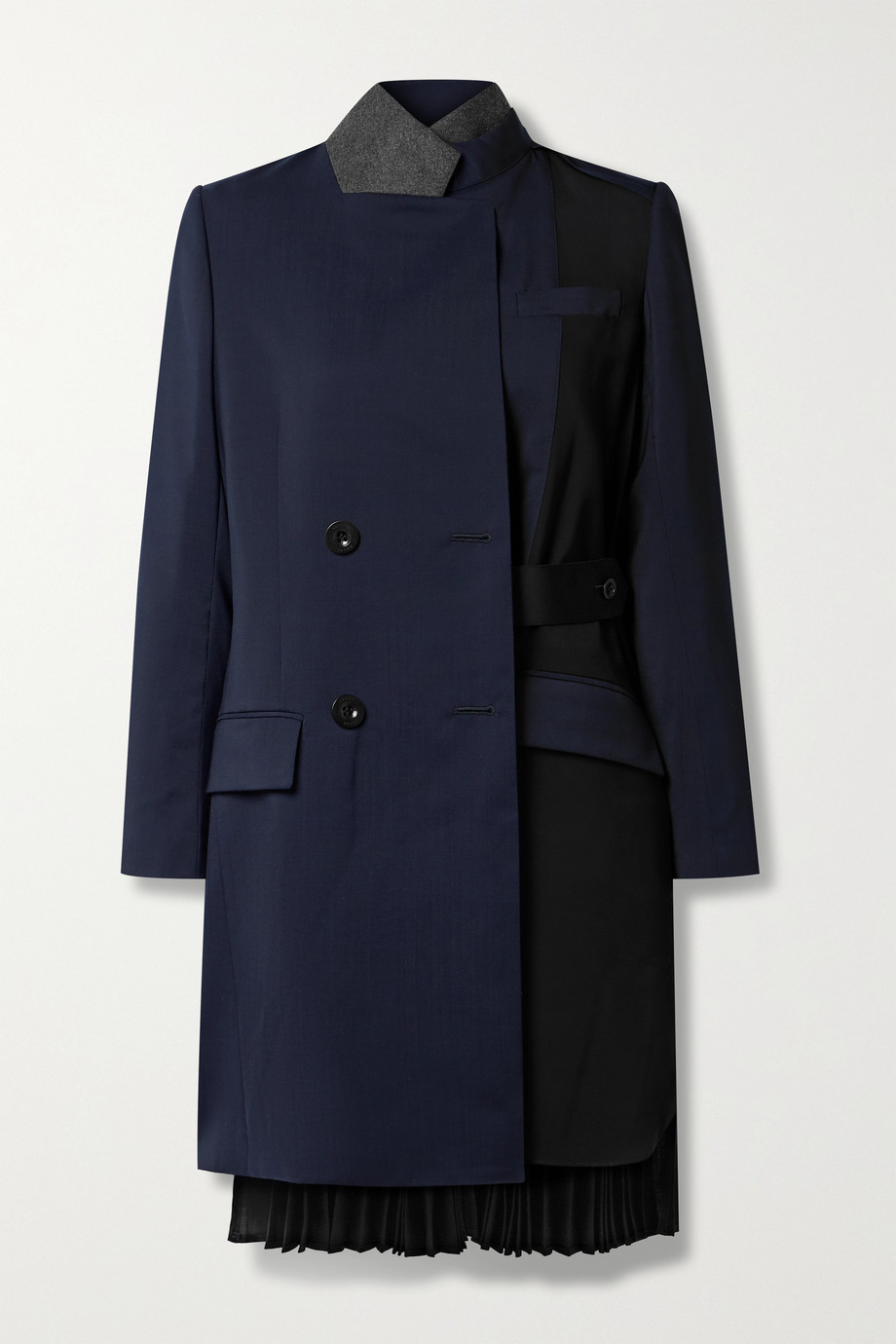 Sacai Paneled grain de poudre and pleated wool jacket