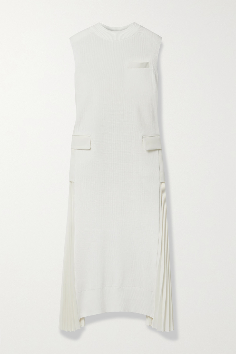 Sacai Cotton and pleated grain de poudre midi dress