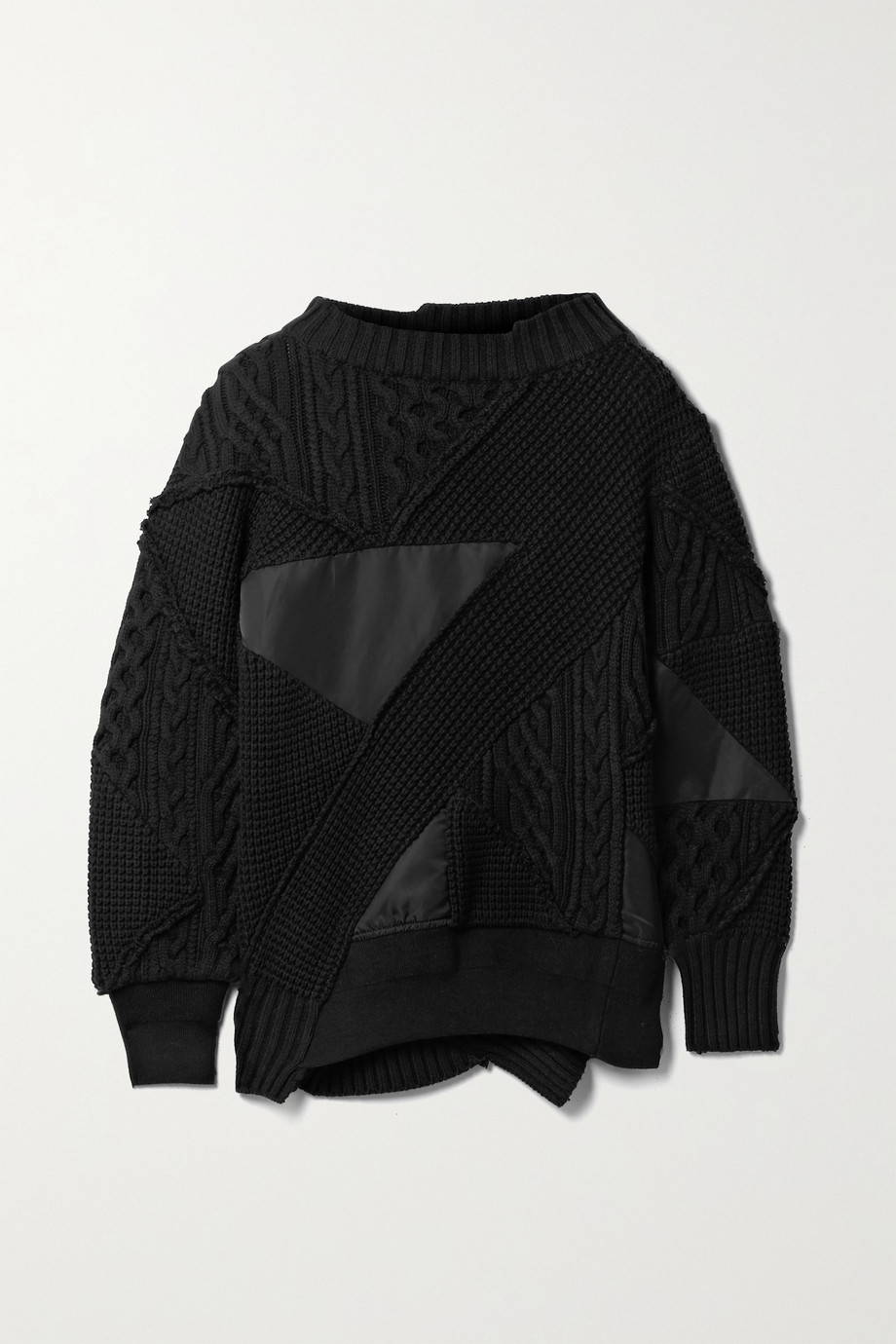 Sacai + Hank Willis Thomas paneled cotton-blend and shell sweater