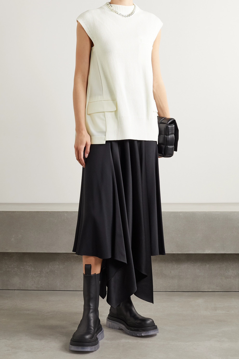 Sacai Paneled ribbed cotton-blend and pleated voile and chiffon top