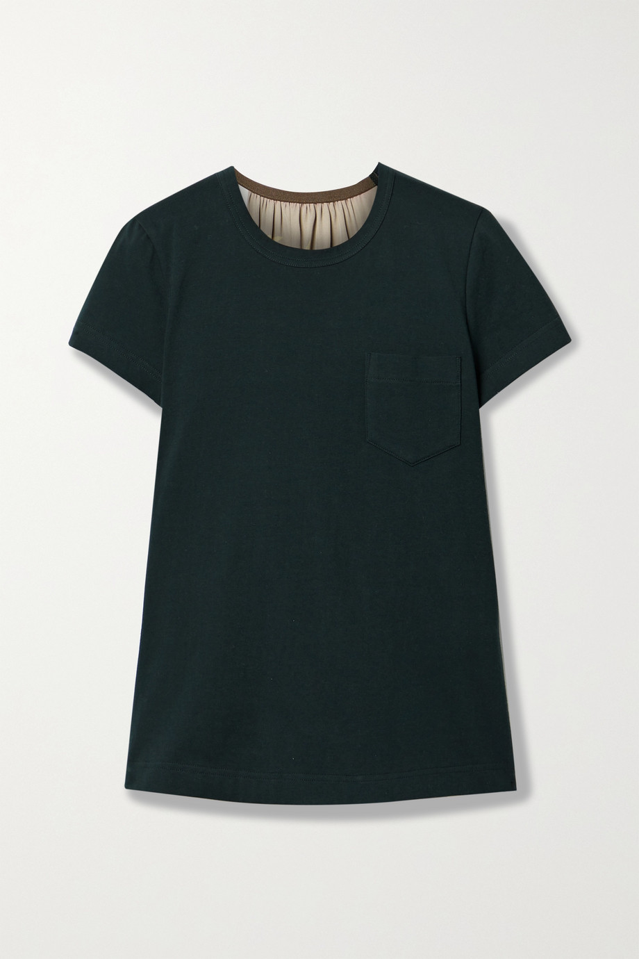 Sacai Paneled cotton-jersey, printed satin and chiffon T-shirt