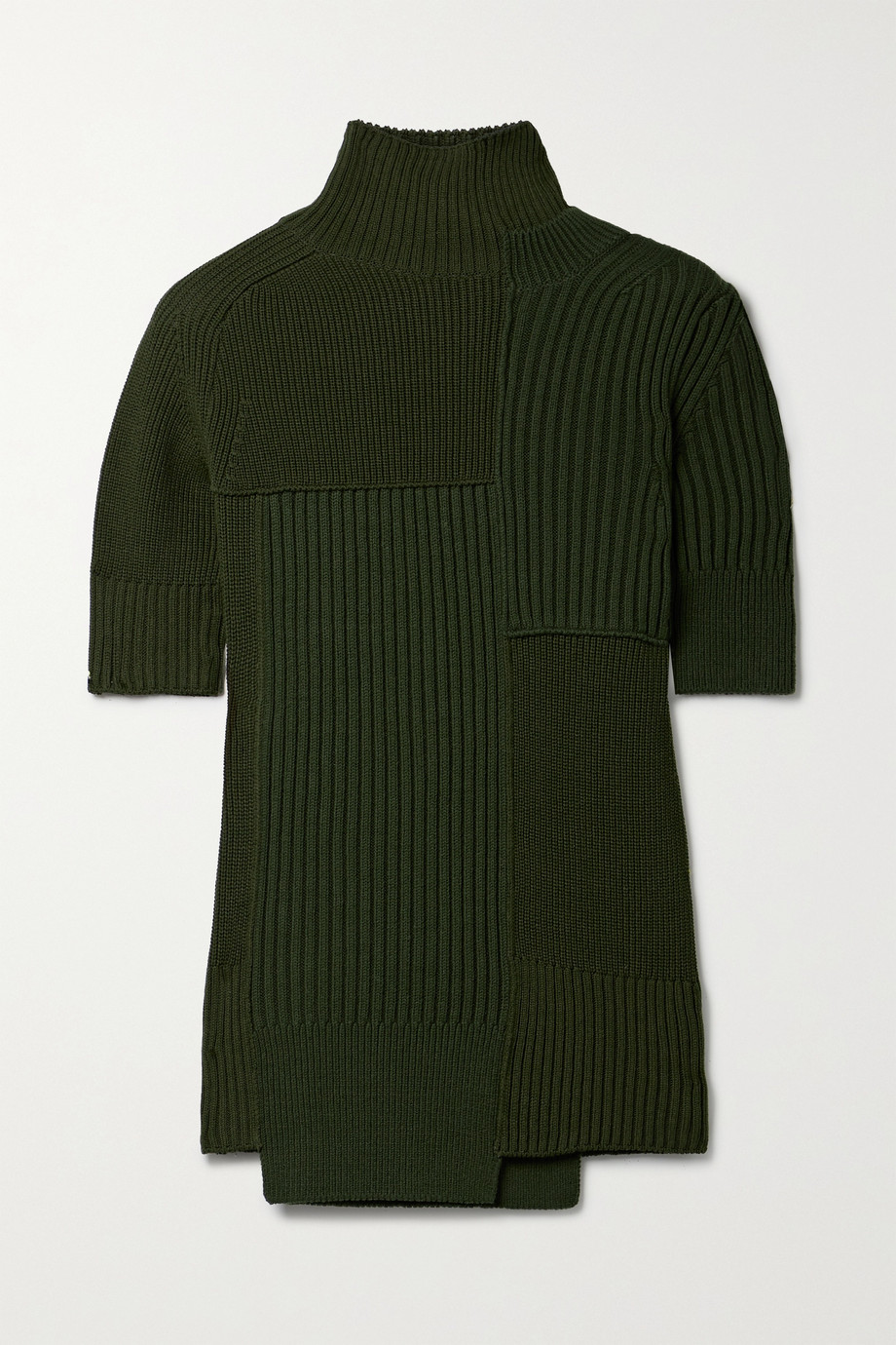 Sacai Cutout paneled ribbed cotton-blend turtleneck sweater