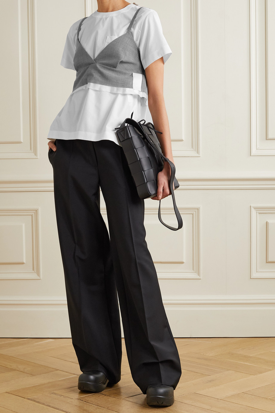 Sacai Layered satin and chiffon-trimmed grain de poudre and poplin top