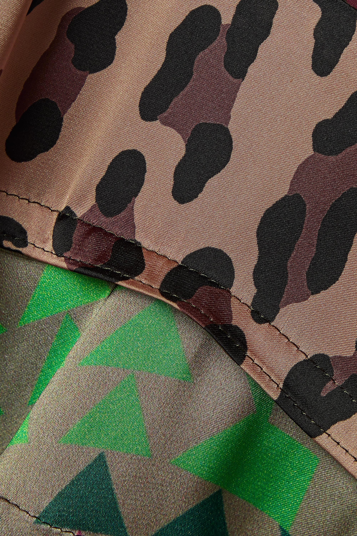 Sacai Bedrucktes Hemd aus Satin, Wolle und Chiffon in Patchwork-Optik