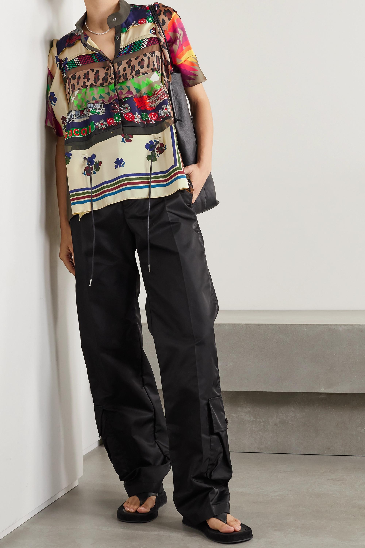 Sacai Patchwork printed satin, wool and chiffon shirt