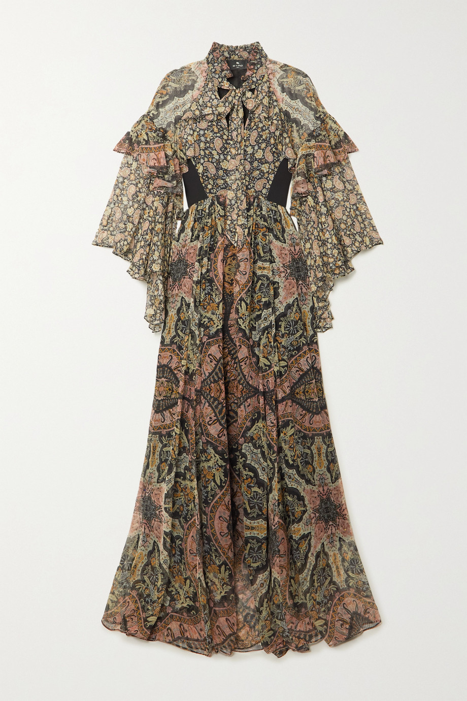 Etro Ruffled paisley-print silk-chiffon maxi dress