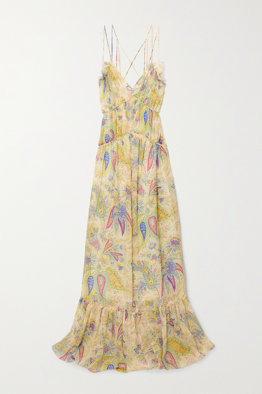 Etro Ruffled paisley-print silk-crepon gown