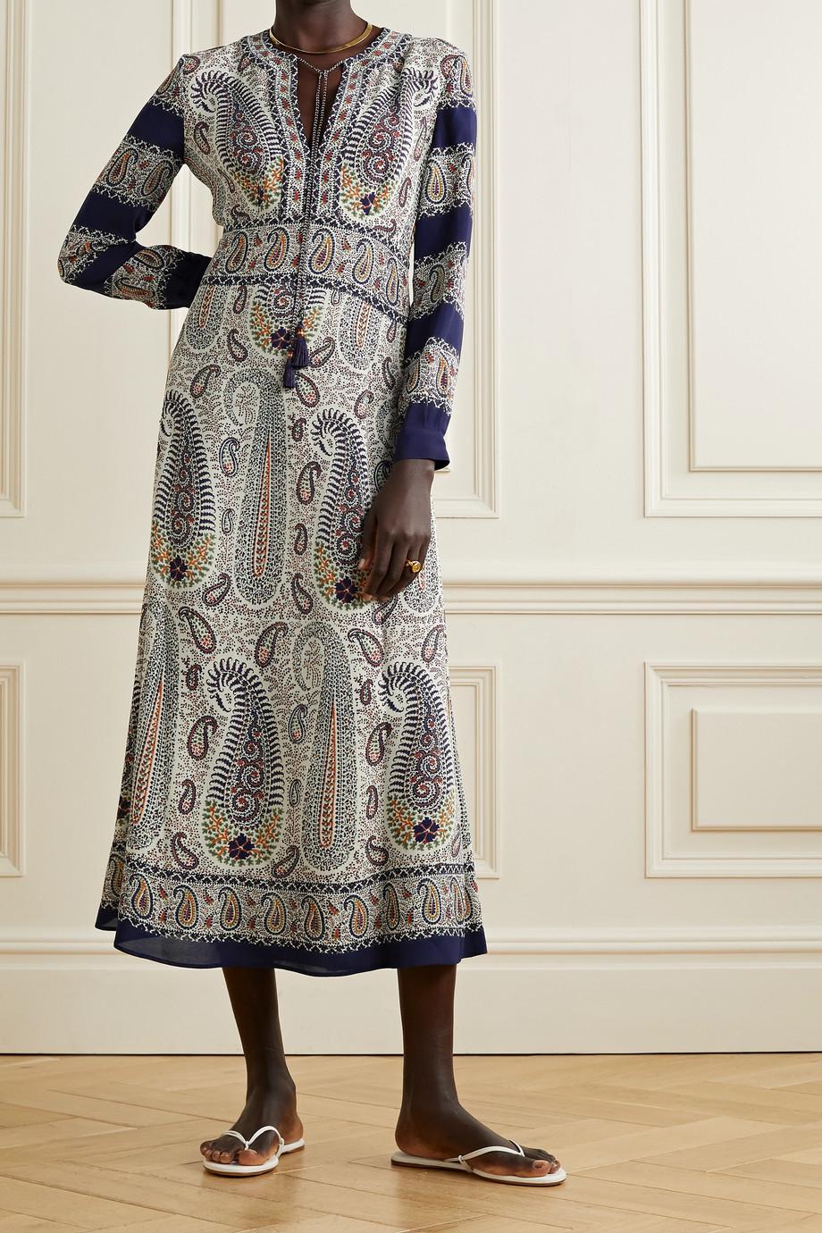 Etro Tasseled paisley-print crepe de chine midi dress