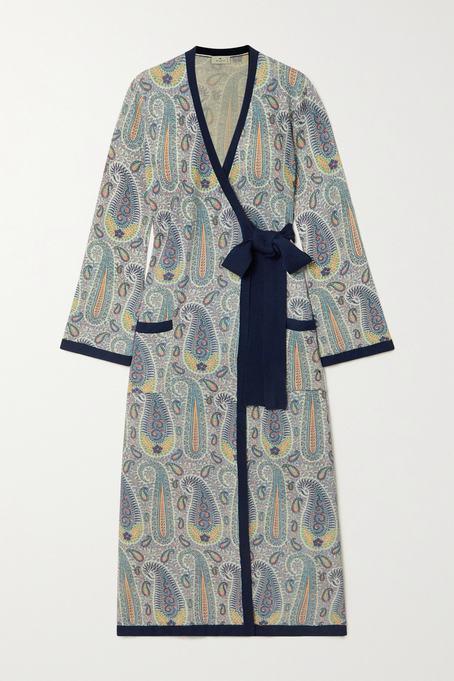 Etro Paisley-print knitted wrap midi dress