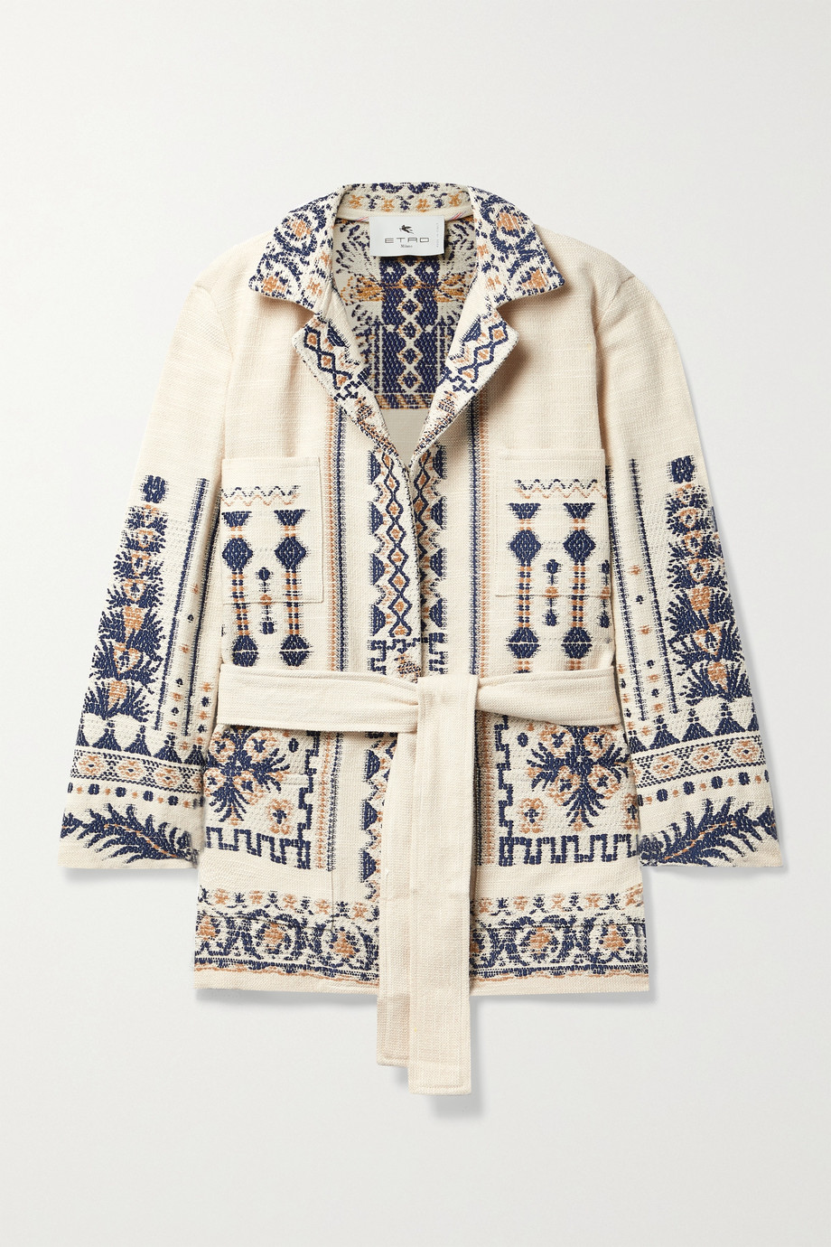 Etro Palmaria belted wool-blend jacquard jacket