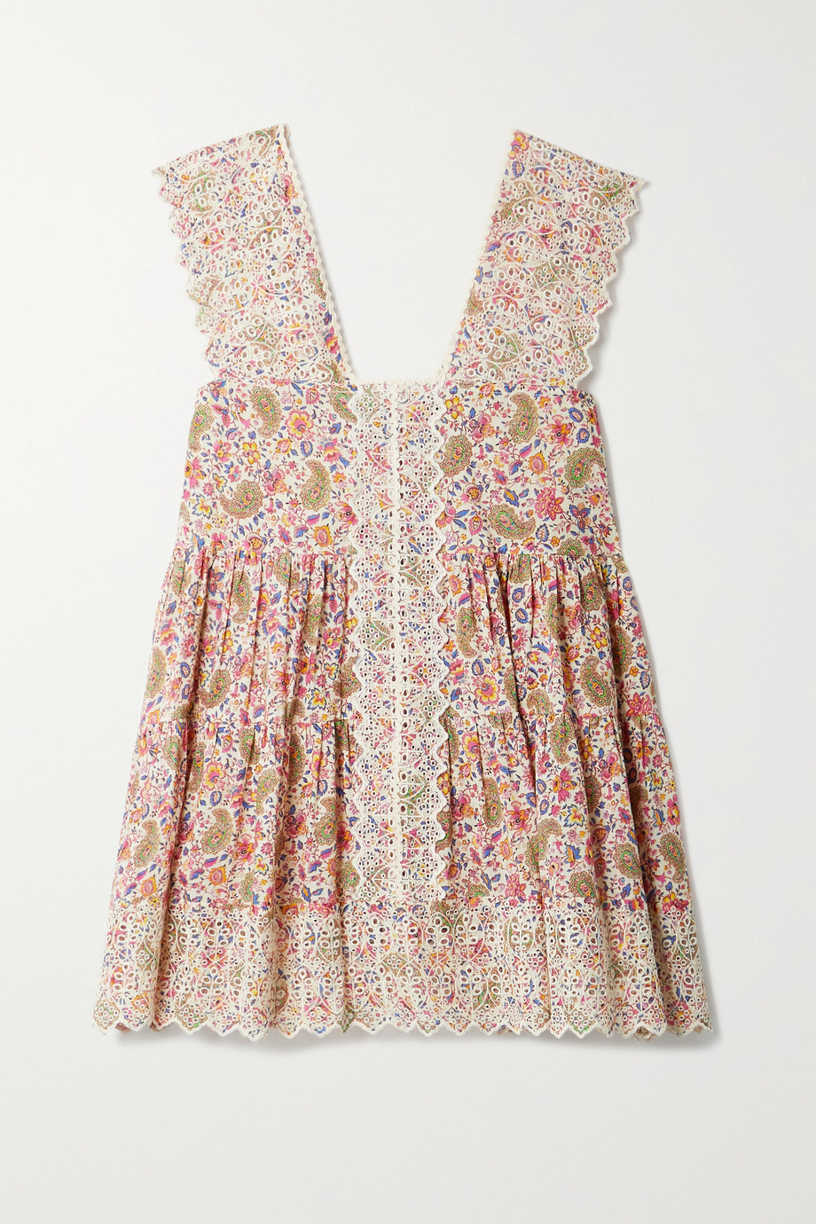 Etro Rickrack-trimmed printed broderie anglaise cotton-voile top
