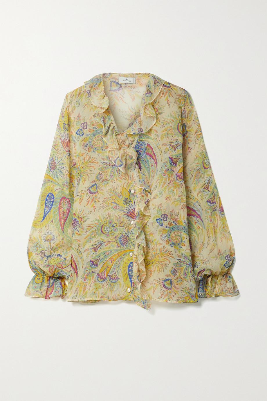 Etro Ruffled printed silk-crepon blouse