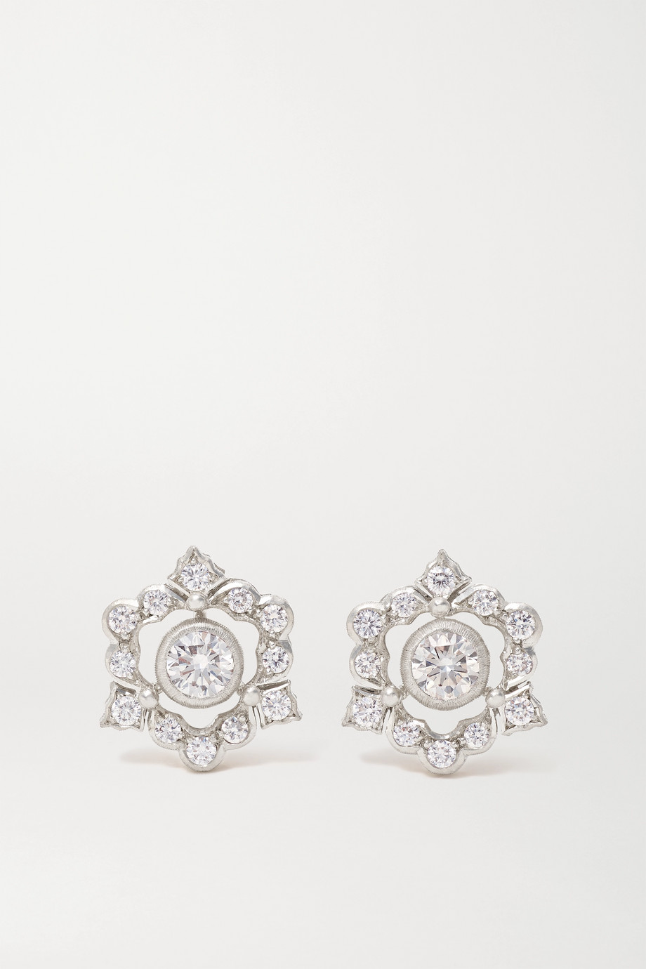 Buccellati Mini Ghirlanda 18-karat white gold diamond earrings