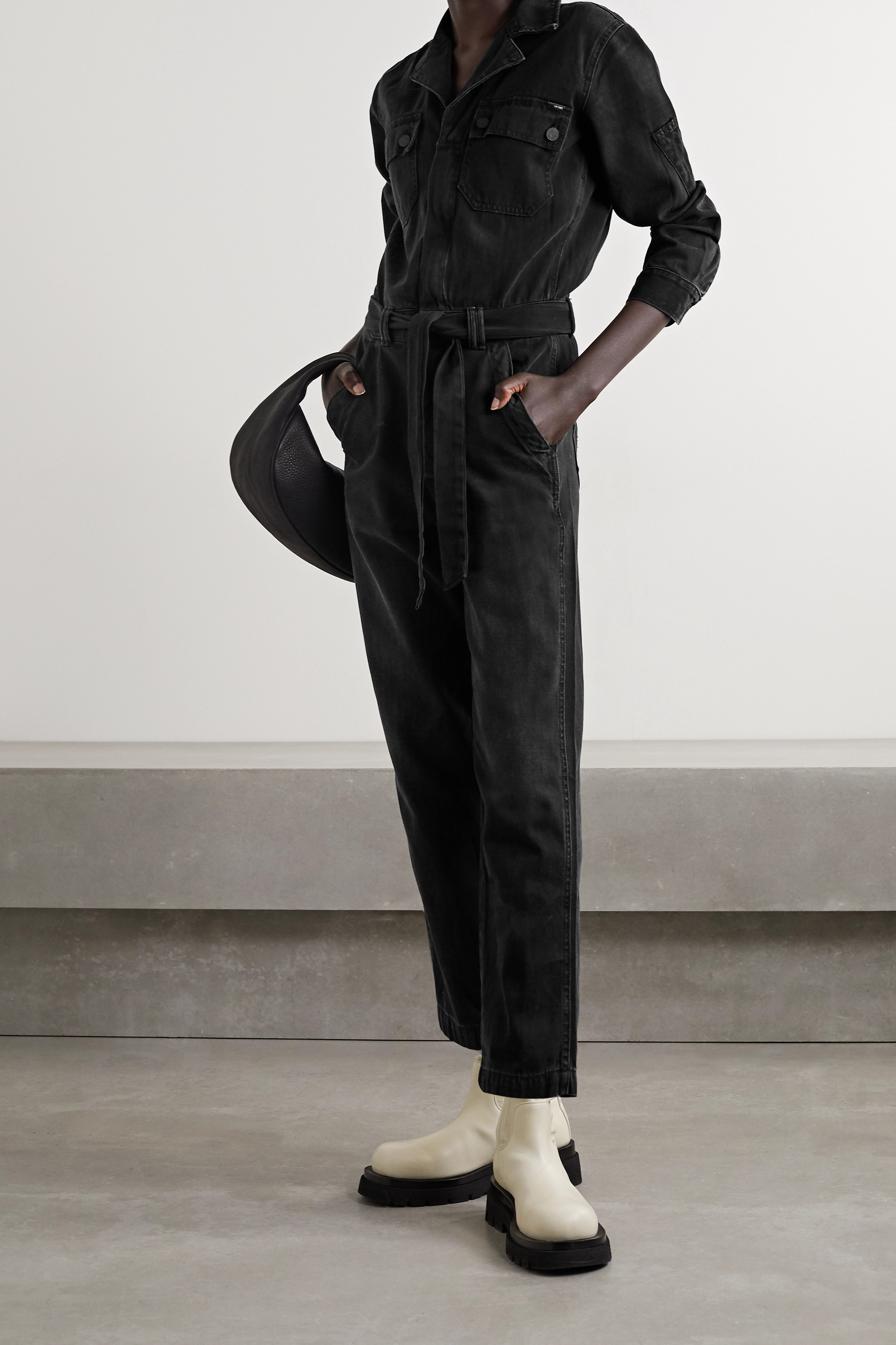 Mother The Belted Fixer denim jumpsuit