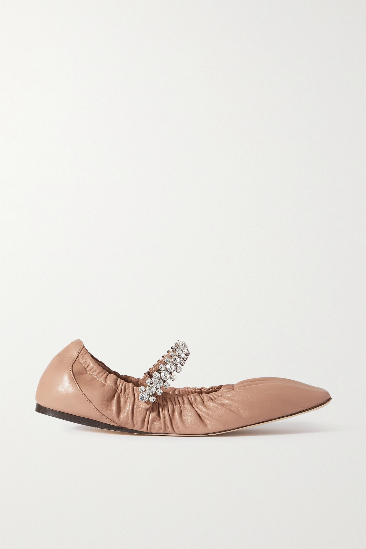 Jimmy Choo Gai crystal-embellished glossed-leather ballet flats