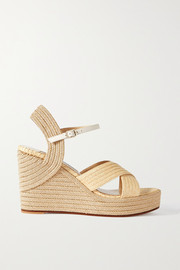 Jimmy Choo Dellena 100 leather-trimmed raffia espadrille wedge sandals