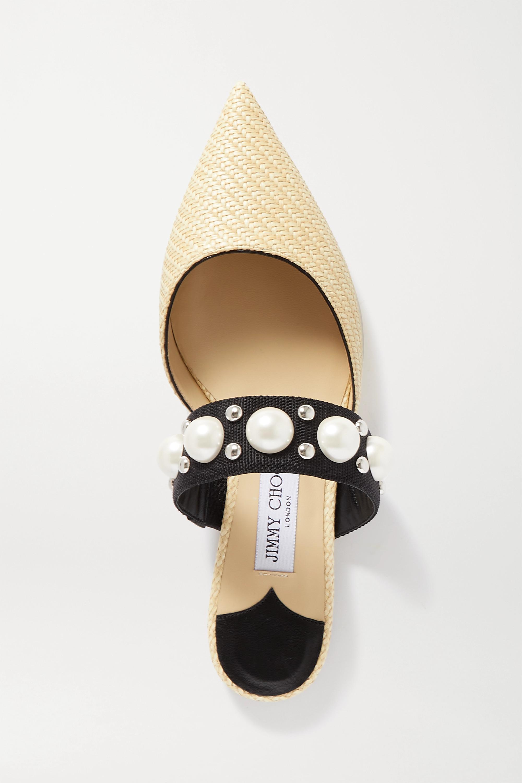 Jimmy Choo Basette embellished raffia point-toe flats